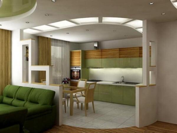 гостинная совмещенная с кухней