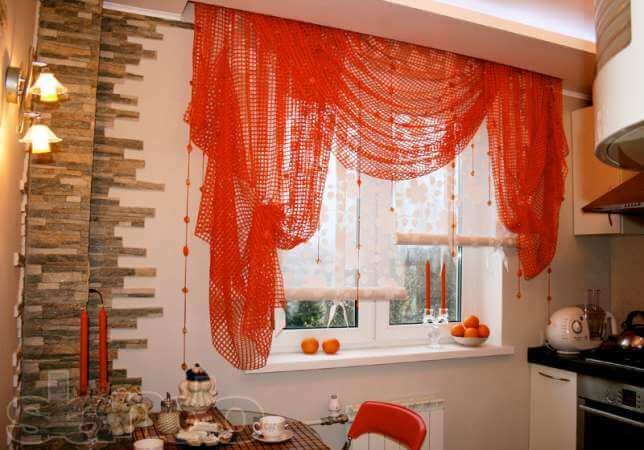 фото шторы сетка на кухне