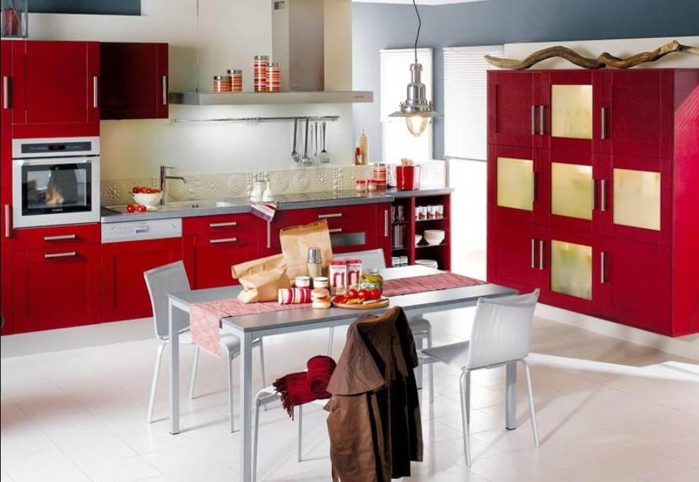 дизайн кухни красно белого цвета