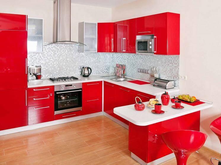 кухня красно белая