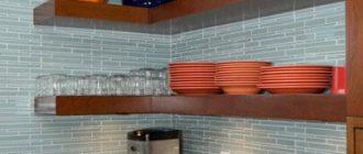 угловые полки на кухню из дерева