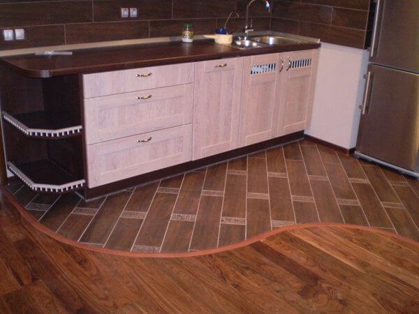 кухня фото пол разной текстуры