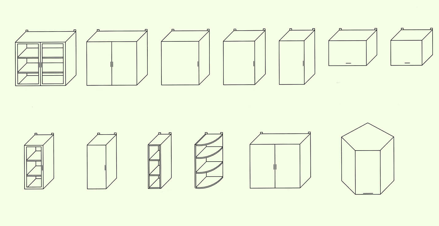 варианты навесных шкафчиков