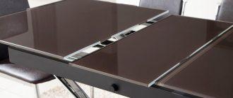 стеклянный кухонный стол-трансформер фото