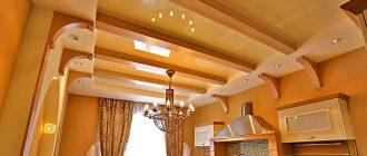 потолок на кухне навесной многоуровневый фото