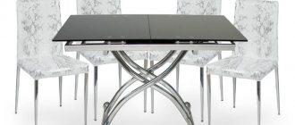 темный стеклянный стол кухонный